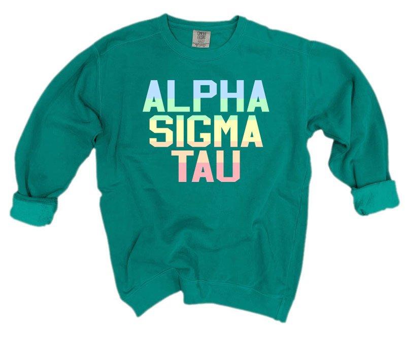 Alpha Sigma Tau Pastel Rainbow Crew - Comfort Colors