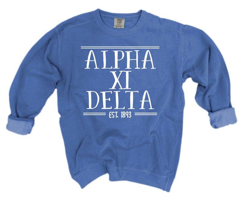Alpha Xi Delta Comfort Colors Custom Crewneck Sweatshirt