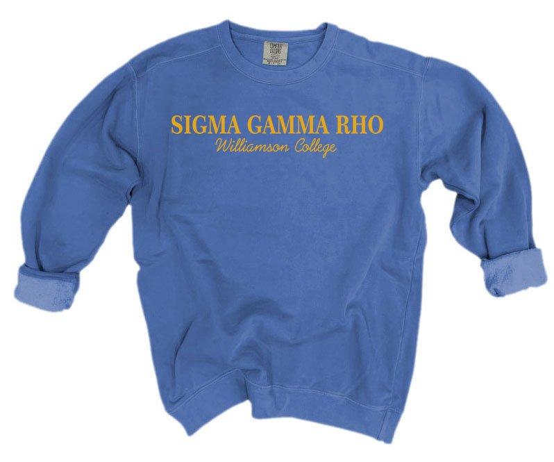 Sigma Gamma Rho Script Comfort Colors Greek Crewneck Sweatshirt
