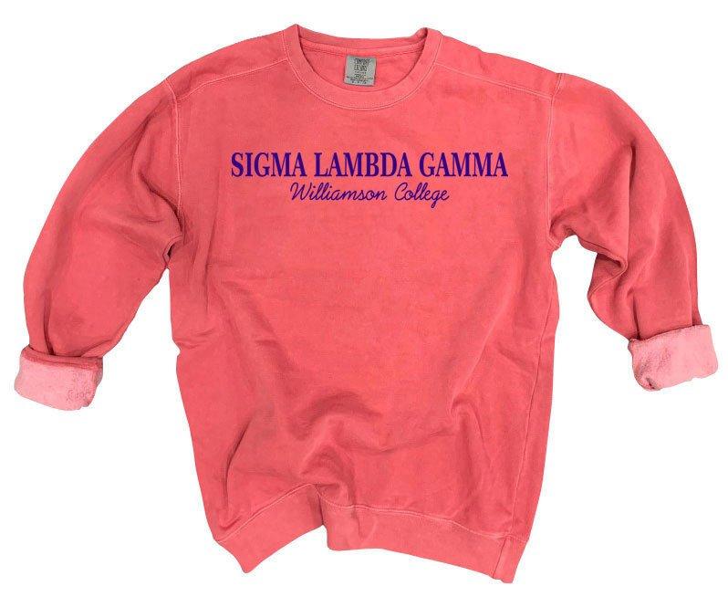 Sigma Lambda Gamma Script Comfort Colors Greek Crewneck Sweatshirt