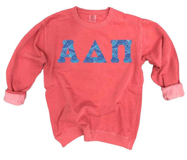 Alpha Delta Pi Comfort Colors Lettered Crewneck Sweatshirt