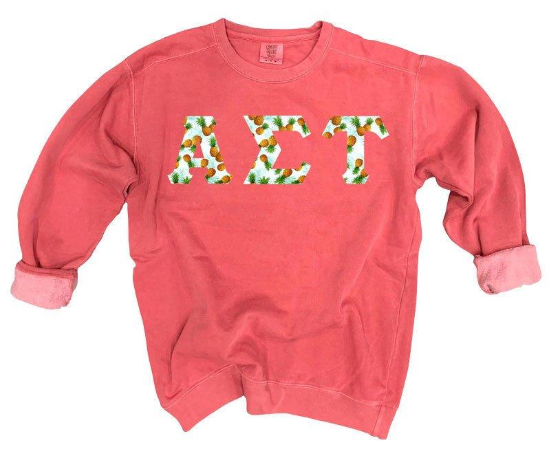 Alpha Sigma Tau Comfort Colors Lettered Crewneck Sweatshirt