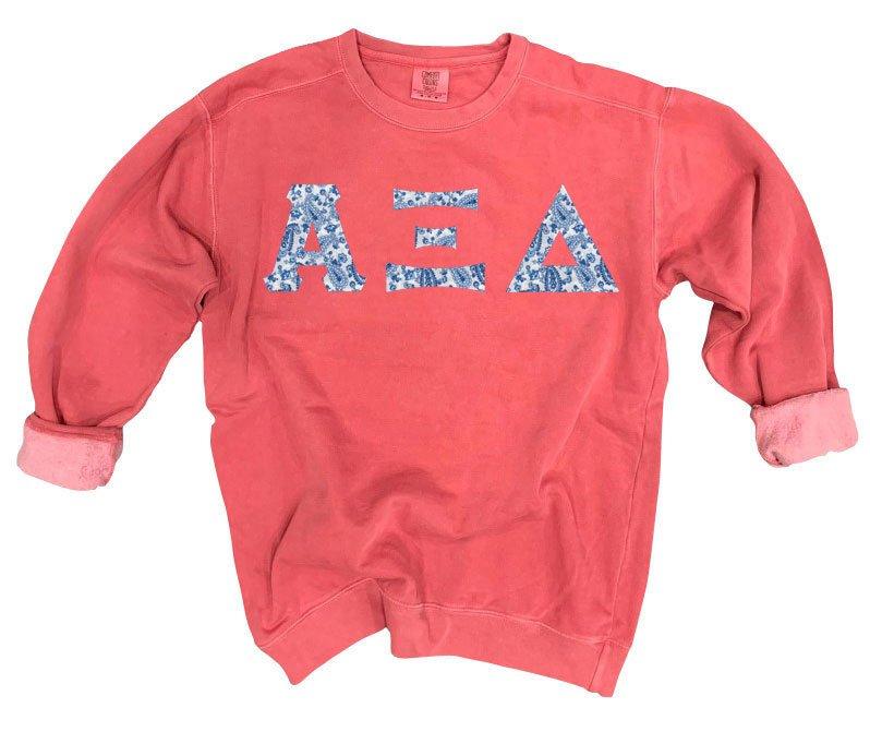 Alpha Xi Delta Comfort Colors Lettered Crewneck Sweatshirt
