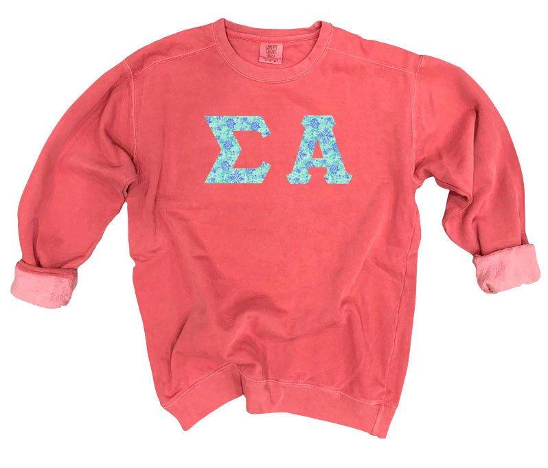 Sigma Alpha Comfort Colors Lettered Crewneck Sweatshirt