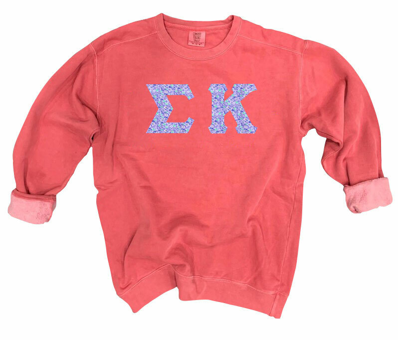 Sigma Kappa Comfort Colors Lettered Crewneck Sweatshirt