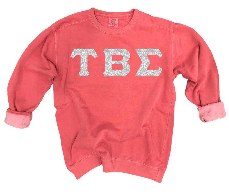 Tau Beta Sigma Comfort Colors Lettered Crewneck Sweatshirt