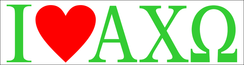 Alpha Chi Omega I Love Bumper Sticker