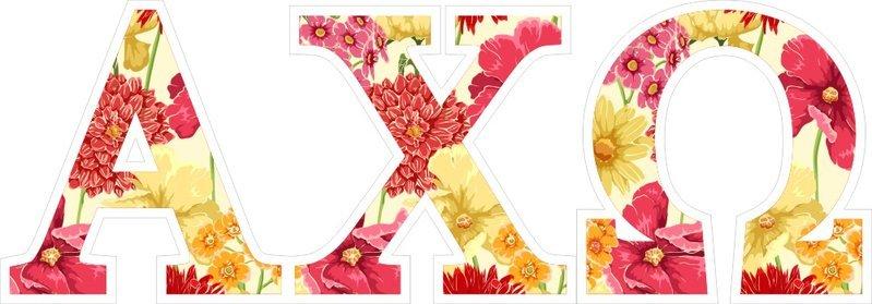 "Alpha Chi Omega Floral Greek Letter Sticker - 2.5"" Tall"