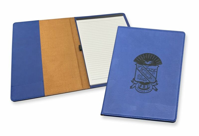 Phi Beta Sigma Royal Leatherette Portfolio with Notepad