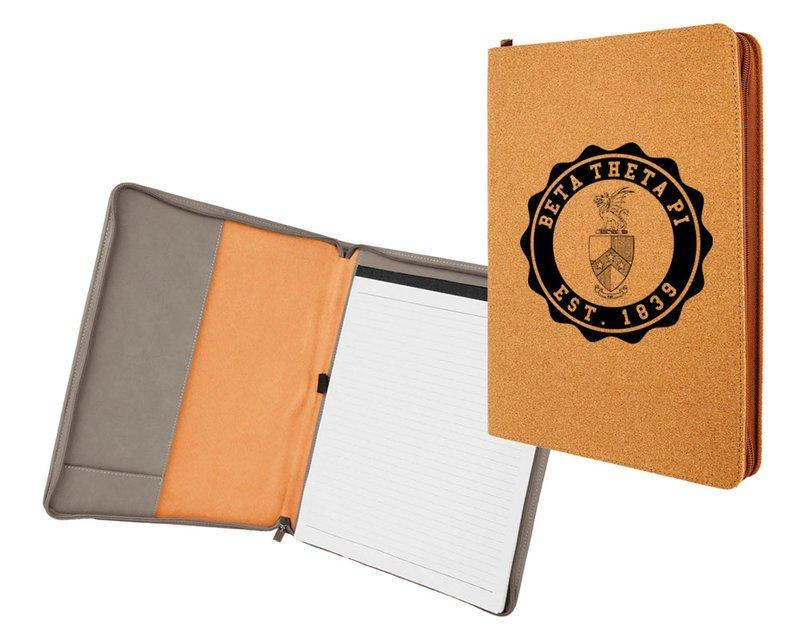 Beta Theta Pi Leatherette Zipper Portfolio with Notepad