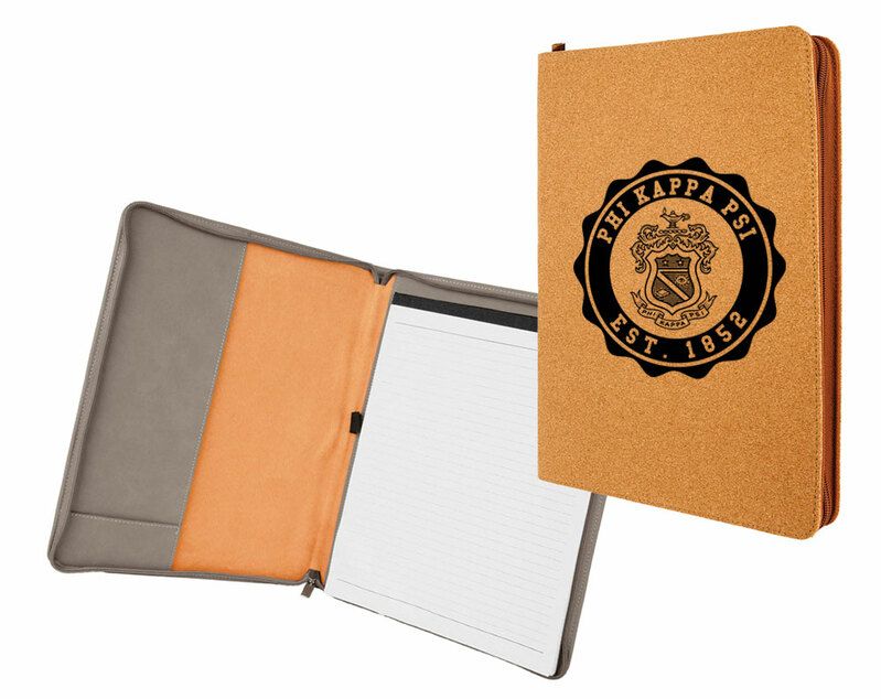 Phi Kappa Psi Leatherette Zipper Portfolio with Notepad