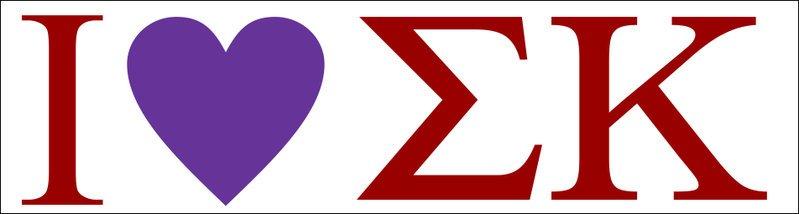 Sigma Kappa I Love Bumper Sticker