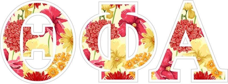 "Theta Phi Alpha Floral Greek Letter Sticker - 2.5"" Tall"