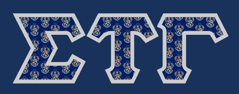 Sigma Tau Gamma Fraternity Crest - Shield Twill Letter Longsleeve Tee