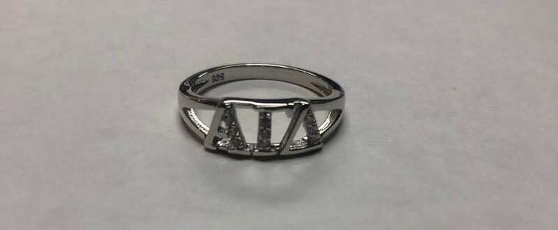 Super Savings - Alpha Gamma Delta Sterling Silver Ring set with Lab-Created Diamonds - SILVER