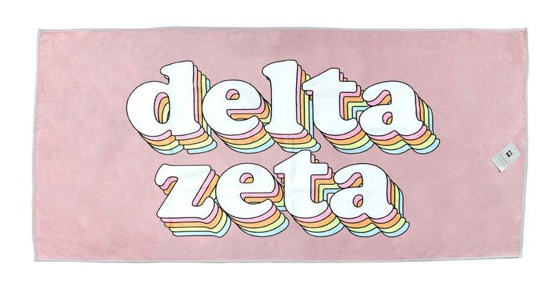 Delta Zeta Plush Retro Beach Towel