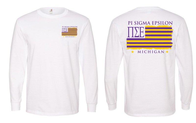 Pi Sigma Epsilon Stripes Long Sleeve T-shirt - Comfort Colors