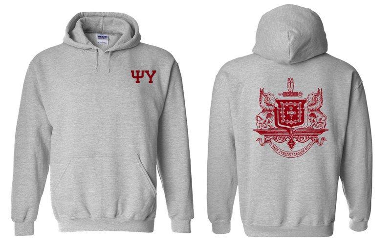 Psi Upsilon World Famous Crest - Shield Hooded Sweatshirt- $35!