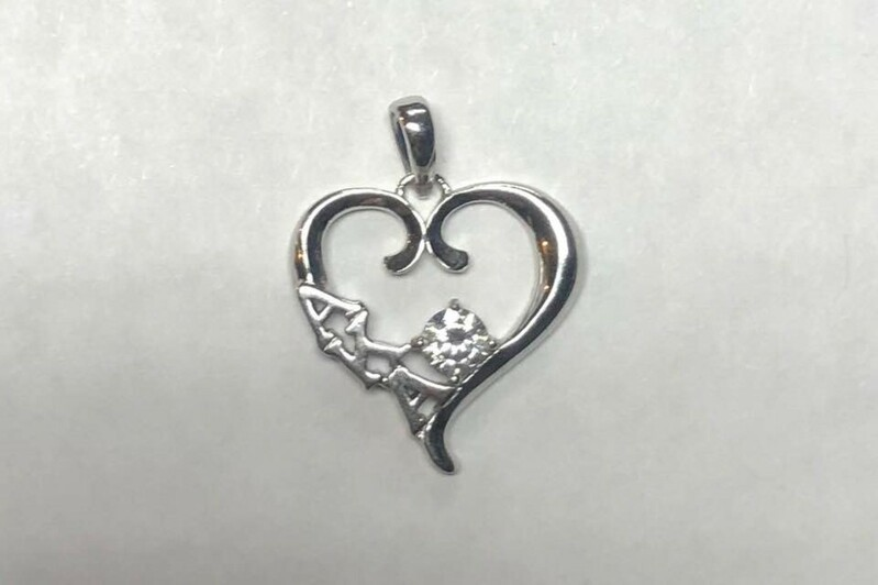 Super Savings - Alpha Kappa Alpha Sterling Silver Heart Pendant with Swarvoski Clear Crystal - SILVER 1 of 3