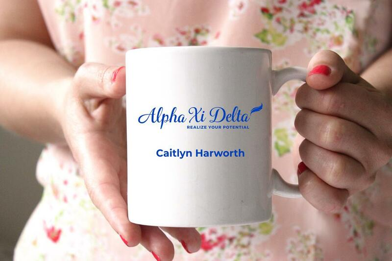 Alpha Xi Delta White Mascot Coffee Mug