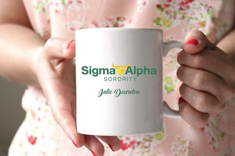 Sigma Alpha White Mascot Coffee Mug