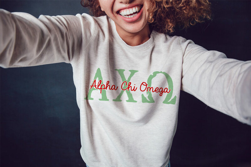 Alpha Chi Omega Greek Type Crewneck Sweatshirt