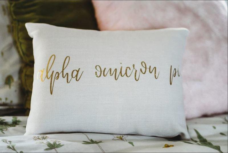Alpha Omicron Pi Gold Imprint Throw Pillow