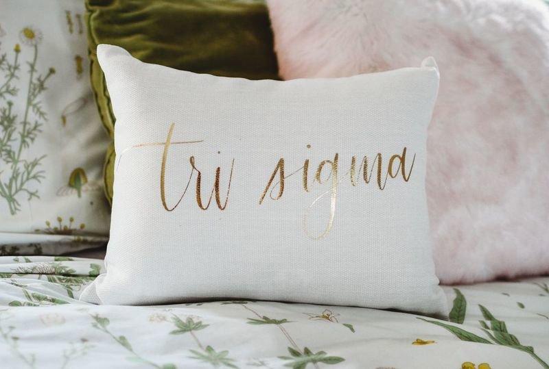 Sigma Sigma Sigma Gold Imprint Throw Pillow