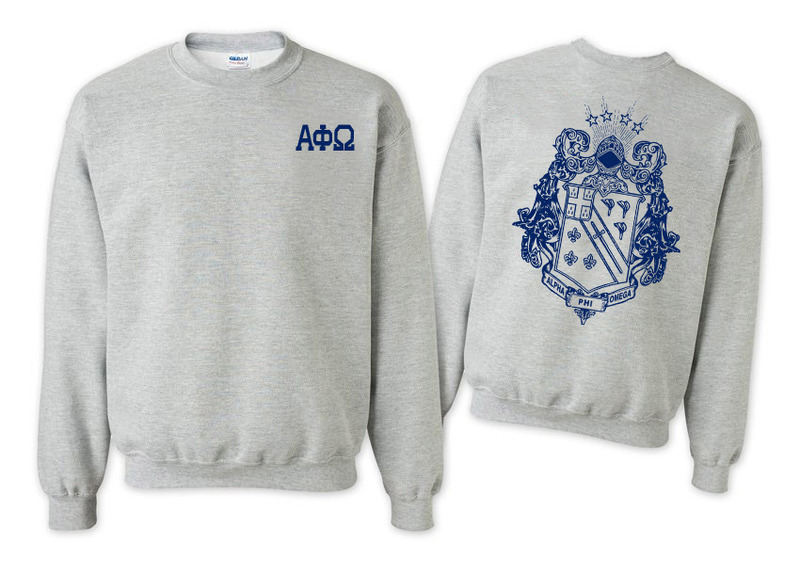 Alpha Phi Omega World Famous Crest - Shield Crewneck Sweatshirt- $25!