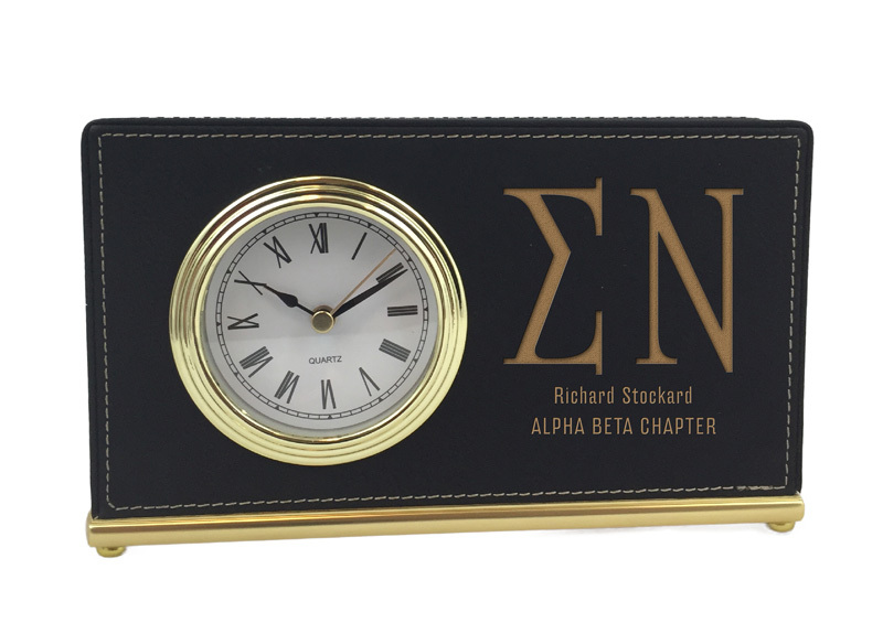 Elegant Horizontal Fraternity Desk Clock