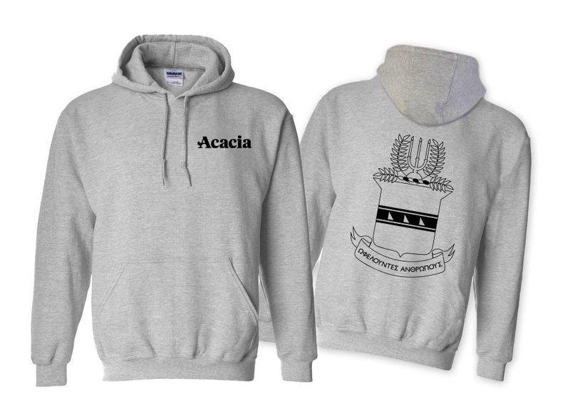 ACACIA World Famous Crest - Shield Printed Hooded Sweatshirt- $35!