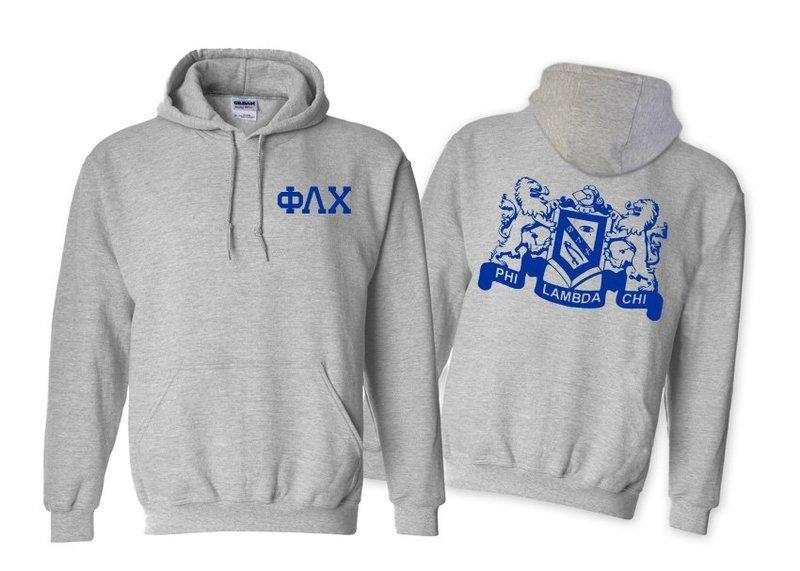 Phi Lambda Chi World Famous Crest - Shield Printed Hooded Sweatshirt- $35!