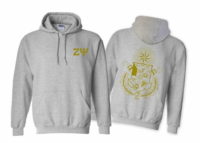 Zeta Psi World Famous Crest - Shield Hooded Sweatshirt- $35!