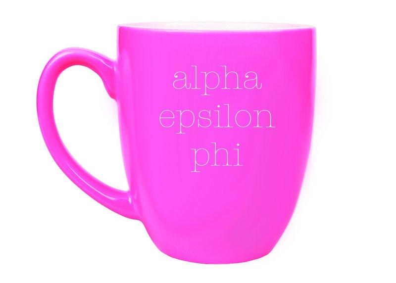 Alpha Epsilon Phi Type Engraved Bistro Mug