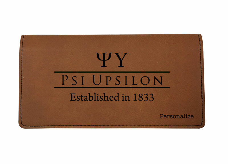 Psi Upsilon Leatherette Checkbook Cover