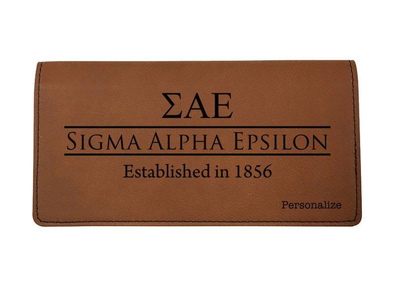 Sigma Alpha Epsilon Leatherette Checkbook Cover
