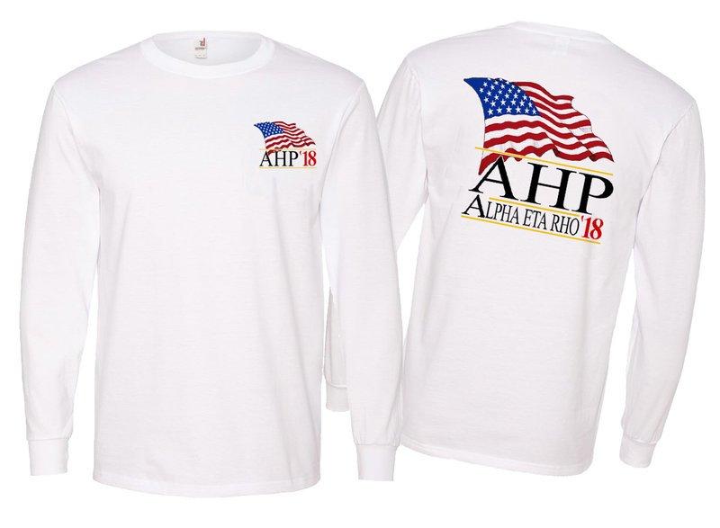 Alpha Eta Rho Patriot  Limited Edition Long Tee - Comfort Colors