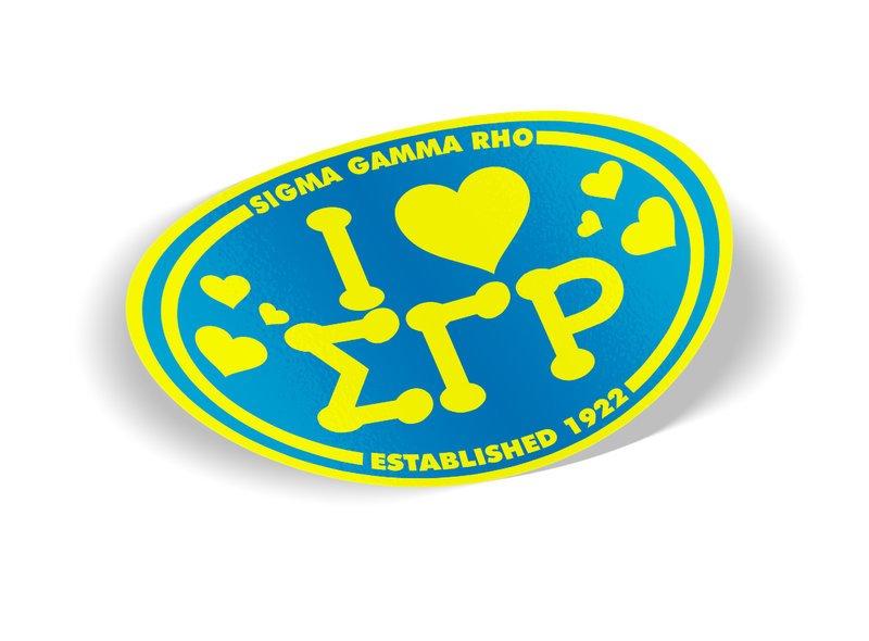 Sigma Gamma Rho I Love Sorority Sticker - Oval