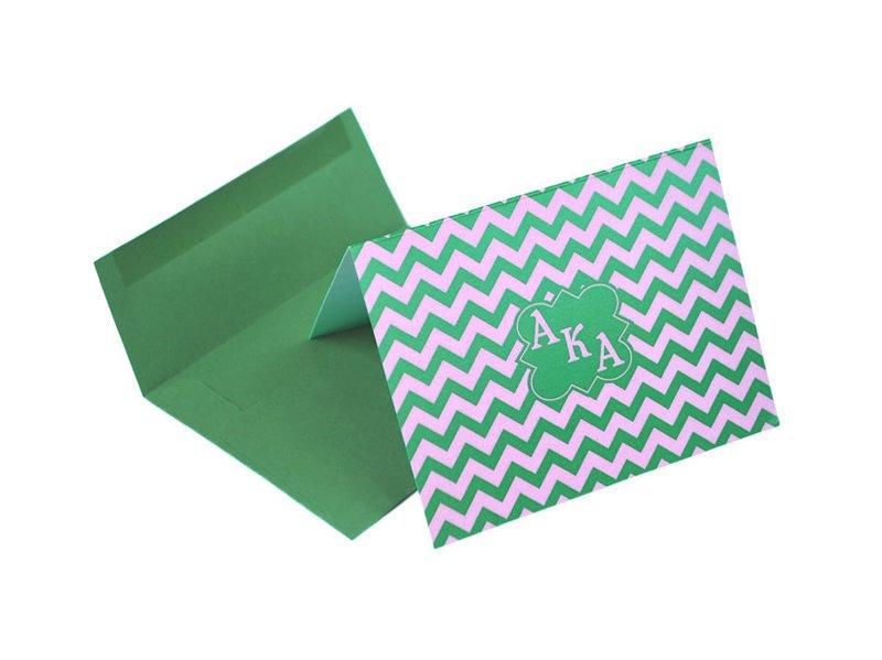 Alpha Kappa Alpha Chevron Note Cards w/ Envelopes (10)