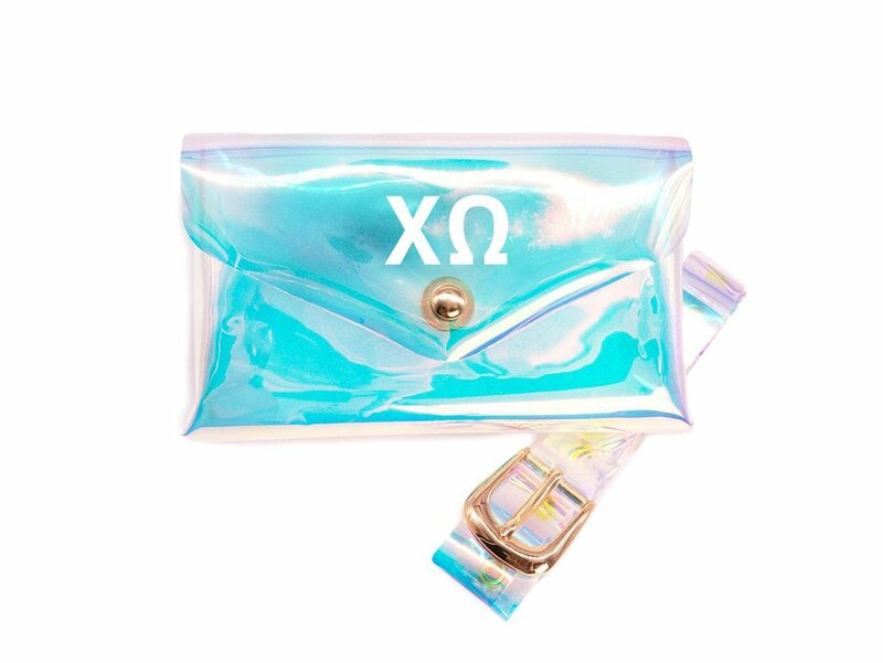 Chi Omega Holographic Belted Fanny Pack
