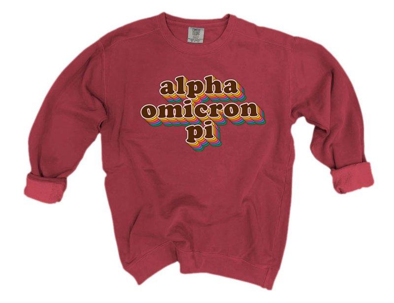 Alpha Omicron Pi Retro Maya Comfort Colors Crewneck Sweatshirt