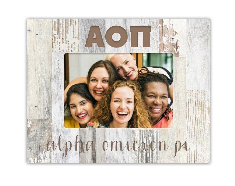 Alpha Omicron Pi Letters Barnwood Picture Frame