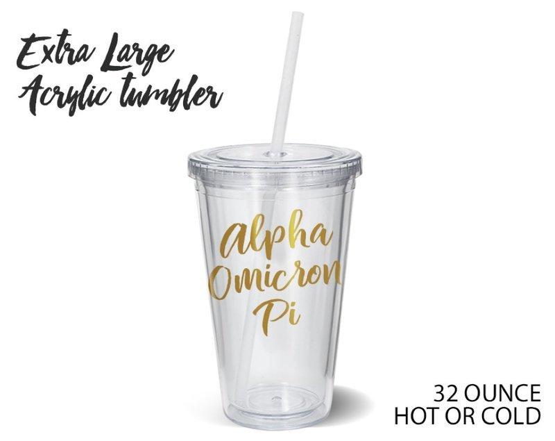 Alpha Omicron Pi Metallic Gold XL Tumbler