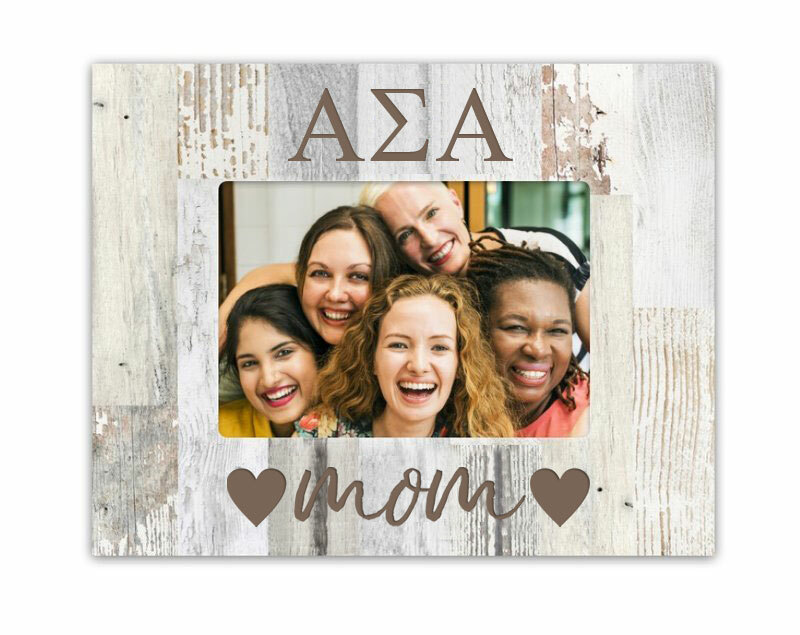 Alpha Sigma Alpha Hearts Faux Wood Picture Frame