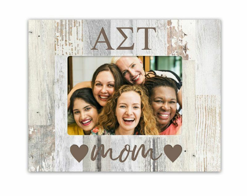 Alpha Sigma Tau Hearts Faux Wood Picture Frame