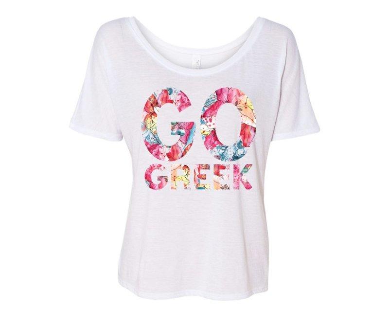 GO Greek Floral Flowy Tee