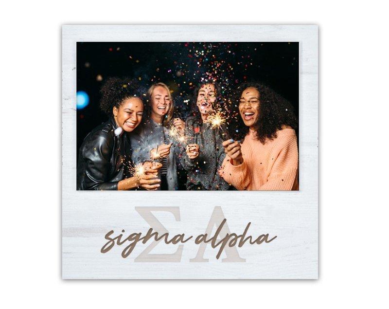 Sigma Alpha Letters Script Block Picture Frame