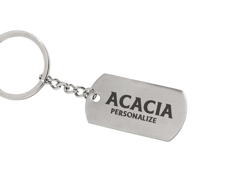 ACACIA Dog Tag Style Custom Keychain