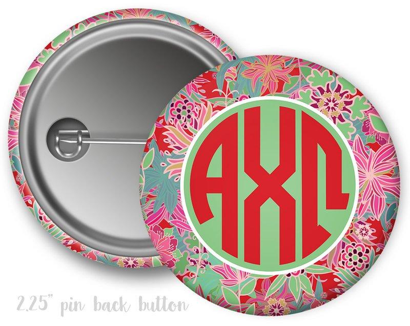 Alpha Chi Omega Floral Button