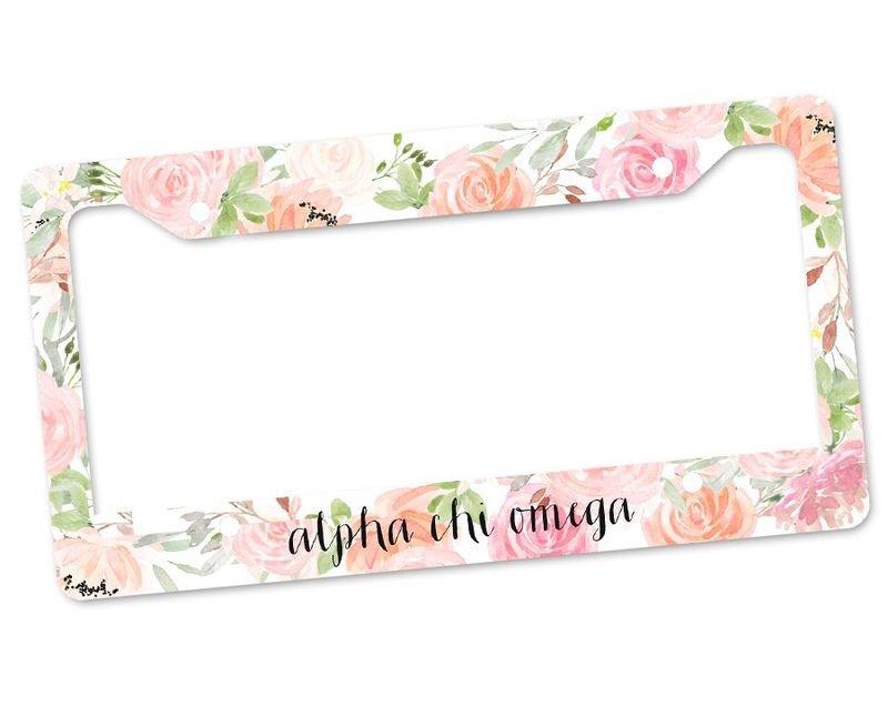Alpha Chi Omega Floral License Plate Frame